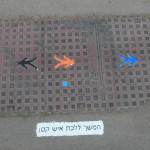 Social Intervention 362 painted figures, acrylic on cast iron access plates Jerusalem, Israel Summer 2012 http://connellyart.com/installing-keep-walking-little-man/  The title of the piece, Keep Walking Little Man in Hebrew is painted beside each altered access plate, 1 of 12 random colors, small blue square signature.